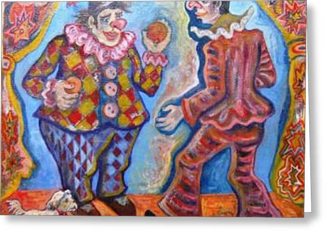 Clowns Greeting Card by Milen Litchkov