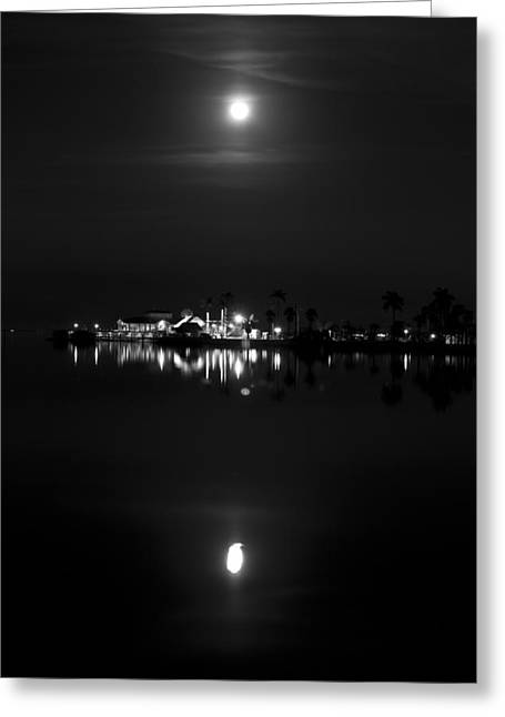 Moonlight On The River Greeting Cards - Club on the Water - BW Greeting Card by Nicholas Evans