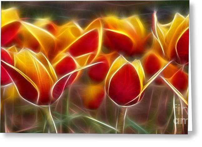 Cluisiana Tulips Fractal Greeting Card by Peter Piatt