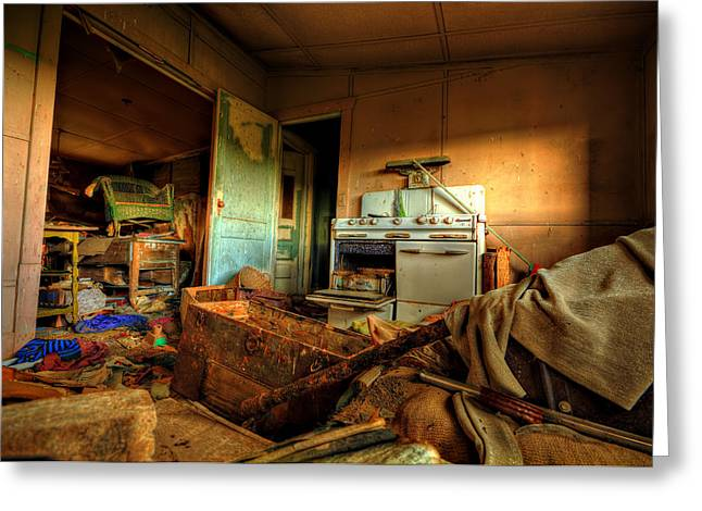 Abandoned Houses Photographs Greeting Cards - Clutter Greeting Card by Shane Linke