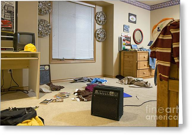 Disarray Greeting Cards - Cluttered Bedroom Greeting Card by Andersen Ross