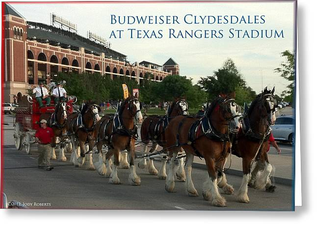 Arlington Mixed Media Greeting Cards - Clydesdales at the Ball Park Greeting Card by Jody Roberts