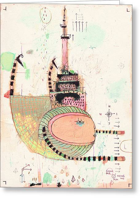 Downtown Drawings Greeting Cards - CN Tower Greeting Card by Nayoun Kim
