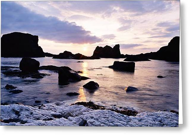 Ocean Panorama Greeting Cards - Co Antrim, Whitepark Bay, Ballintoy Greeting Card by The Irish Image Collection