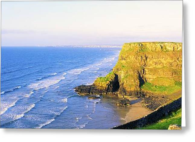Ocean Panorama Greeting Cards - Co Derry, Ireland View Of Cliffs And Greeting Card by The Irish Image Collection