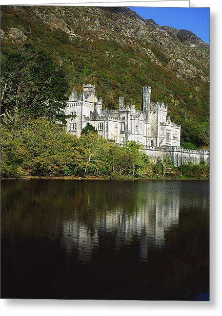 Reflections In River Greeting Cards - Co Galway, Kylemore Abbey Greeting Card by The Irish Image Collection
