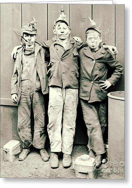 Mining Photos Greeting Cards - Coal Breaker Boys 1900 Greeting Card by Padre Art