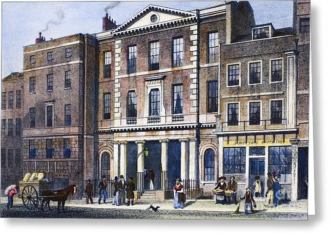 Street Sweeper Greeting Cards - Coal Exchange, 1830 Greeting Card by Granger