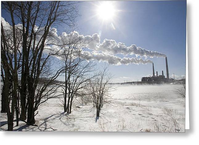 Power Plants Greeting Cards - Coal Fired Power Plant In Winter Greeting Card by Skip Brown