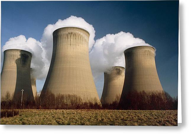 Carbon Emissions Greeting Cards - Coal Fired Power Station Greeting Card by Sinclair Stammers