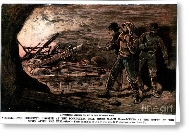 Coal Mine Explosion, 1884 Greeting Card by Granger
