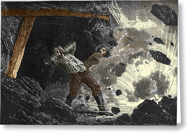 Working Conditions Greeting Cards - Coal Mine Explosion, 19th Century Greeting Card by Sheila Terry