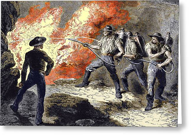 Working Conditions Greeting Cards - Coal Mine Fire, 19th Century Greeting Card by Sheila Terry