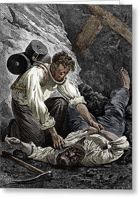 Working Conditions Greeting Cards - Coal Mine Rescue, 19th Century Greeting Card by Sheila Terry