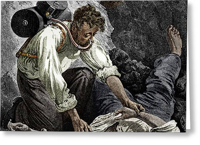 Coal Mine Rescue, 19th Century Greeting Card by Sheila Terry