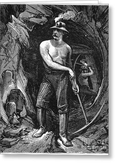19th Century America Photographs Greeting Cards - COAL MINER, 19th CENTURY Greeting Card by Granger