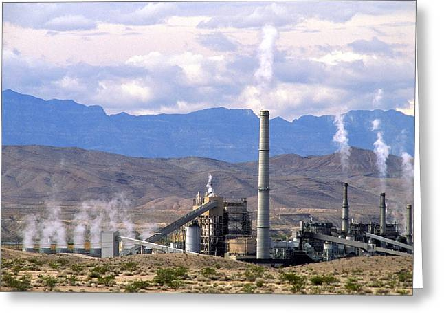 Carbon Emissions Greeting Cards - Coal Power Station Greeting Card by David Nunuk