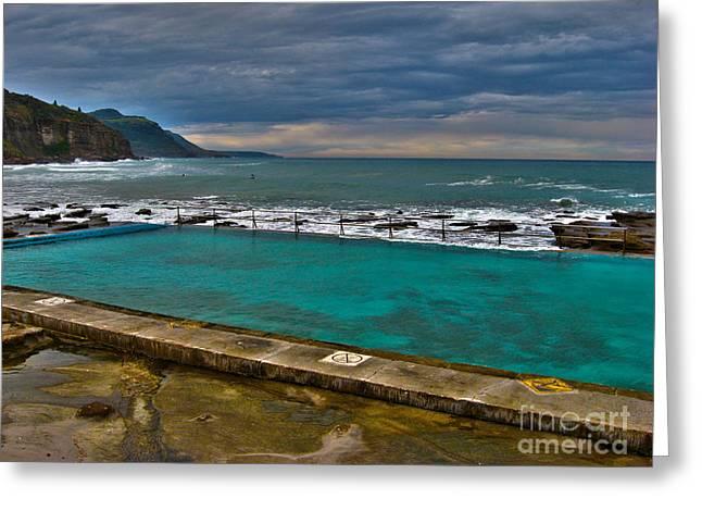 Joanne Kocwin Greeting Cards - Coalcliff Ocean Pool Greeting Card by Joanne Kocwin