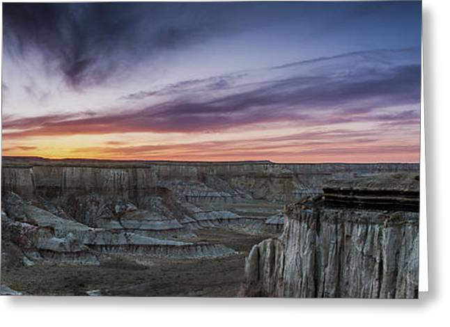 Coalmine Greeting Cards - Coalmine Canyon Panoramic Sunset Cropped Greeting Card by Darcy Michaelchuk