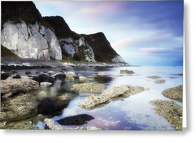 Best Sellers -  - Mystic Setting Greeting Cards - Coast Between Carnlough & Waterfoot, Co Greeting Card by The Irish Image Collection