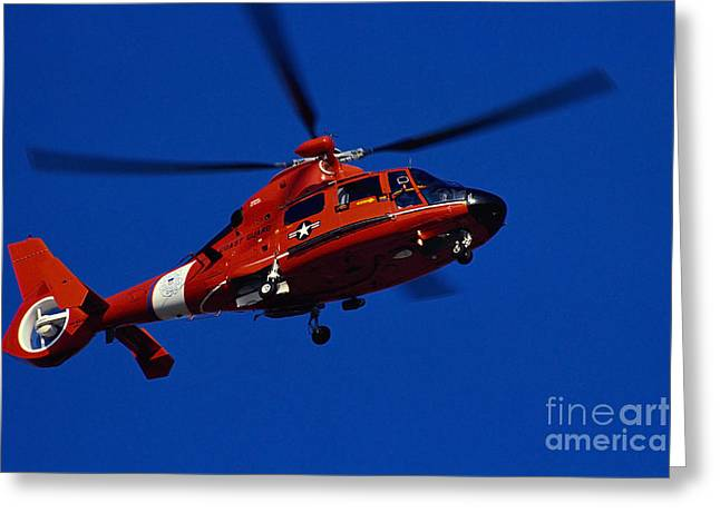 Rotary Wing Aircraft Photographs Greeting Cards - Coast Guard Helicopter Greeting Card by Stocktrek Images