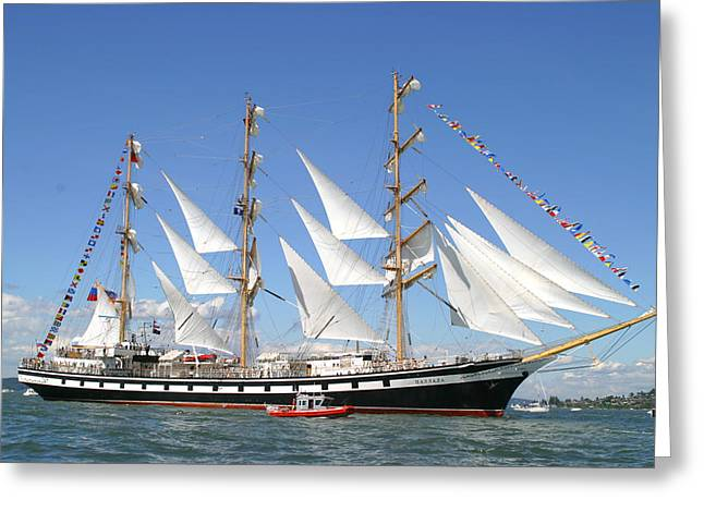 Tall Ship Greeting Cards - Coast Guard Included Greeting Card by Kym Backland