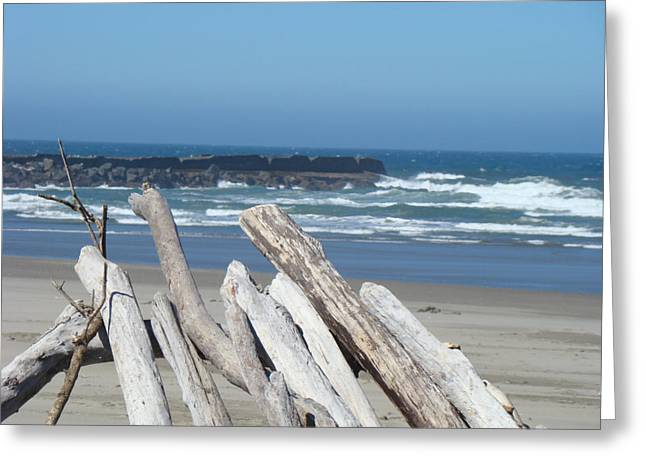 Coastal Driftwood art prints Blue Sky Ocean Waves Greeting Card by Baslee Troutman