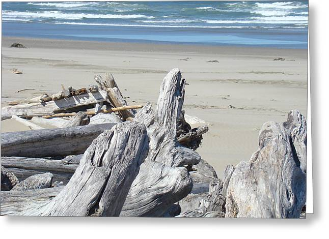 Beach Driftwood Greeting Cards - Coastal Driftwood art prints Blue Waves Ocean Greeting Card by Baslee Troutman