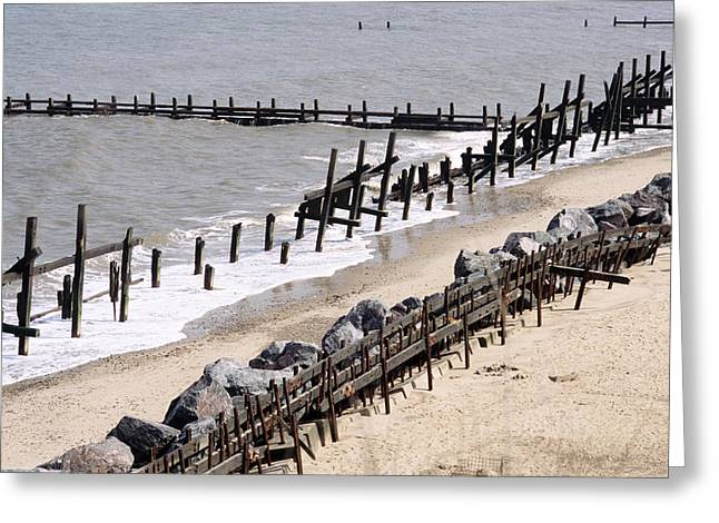 Sand Fences Greeting Cards - Coastal Erosion Greeting Card by Victor De Schwanberg