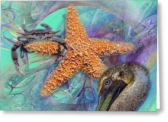 Sea Life Digital Greeting Cards - Coastal Life I Greeting Card by Betsy C  Knapp