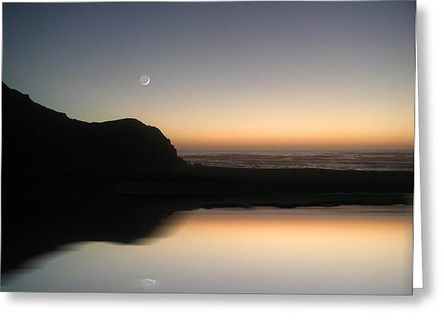 John Stewart Greeting Cards - Coastal Moon Greeting Card by John Norman Stewart