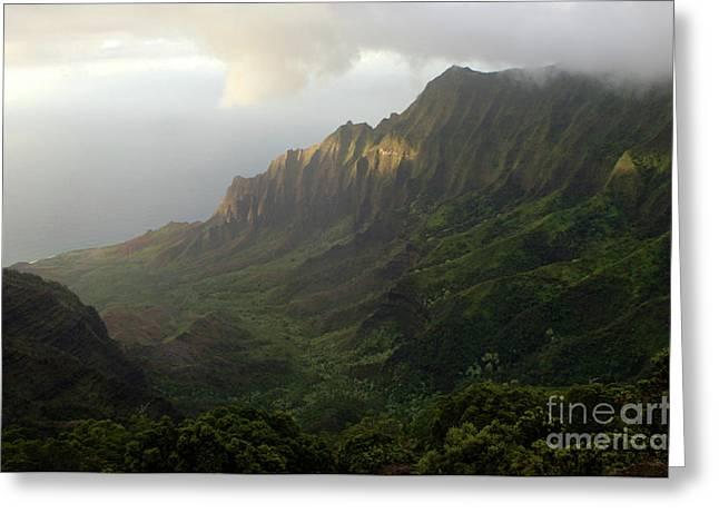 Wind Surfer Greeting Cards - Coastal Mountains Kauai Greeting Card by Bob Christopher