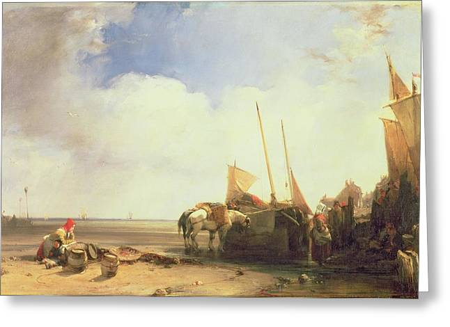 """hard Work"" Greeting Cards - Coastal Scene in Picardy Greeting Card by Richard Parkes Bonington"