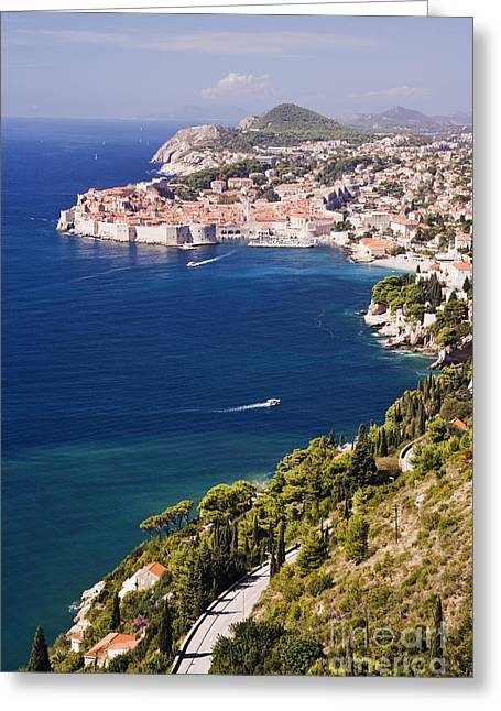 Coastal View Of The Old Town Of Dubrovnik Greeting Card by Jeremy Woodhouse