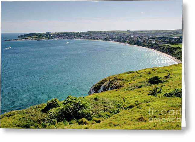 Sunny Photographs Greeting Cards - COASTAL WALK Swanage Bay comes into view sweeping beaches Dorset England UK Greeting Card by Andy Smy