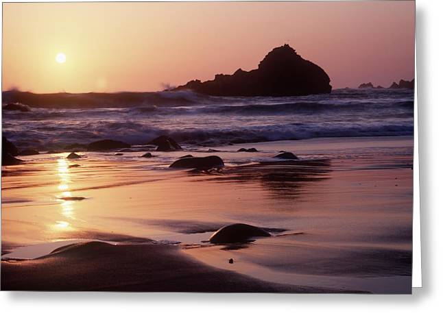 Coastline At Sunset Greeting Card by Axiom Photographic