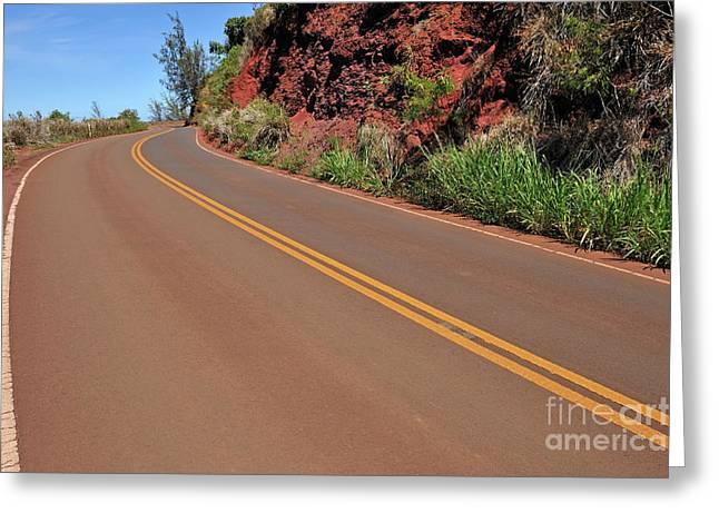 Yellow Line Greeting Cards - Coastline road in Hawaii Greeting Card by Sami Sarkis