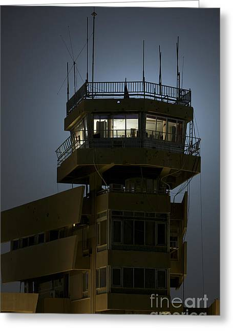 Traffic Control Greeting Cards - Cob Speicher Control Tower Greeting Card by Terry Moore