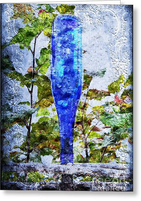 Glass Garden Greeting Cards - Cobalt Blue Bottle Triptych 1 of 3 Greeting Card by Andee Design