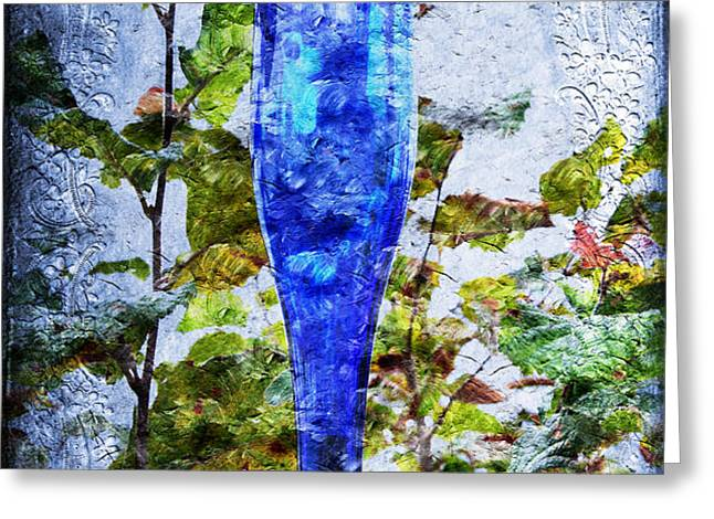 Cobalt Blue Bottle Triptych 1 of 3 Greeting Card by Andee Design