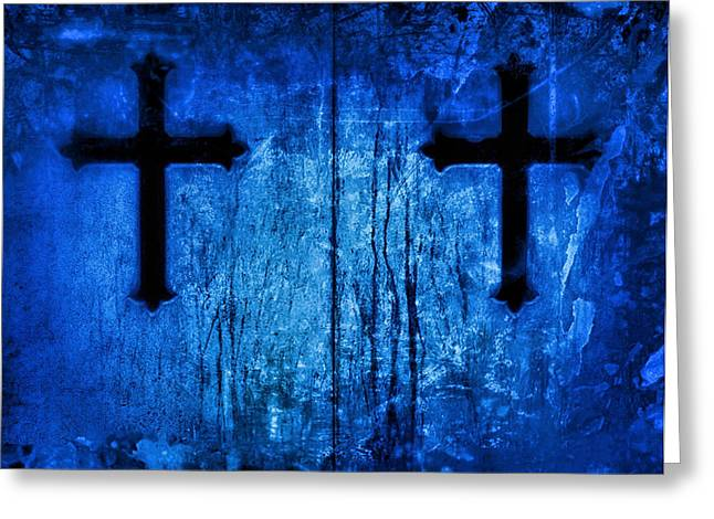 Gothic Cross Greeting Cards - Cobalt Blue Cross Duo Greeting Card by Tony Grider