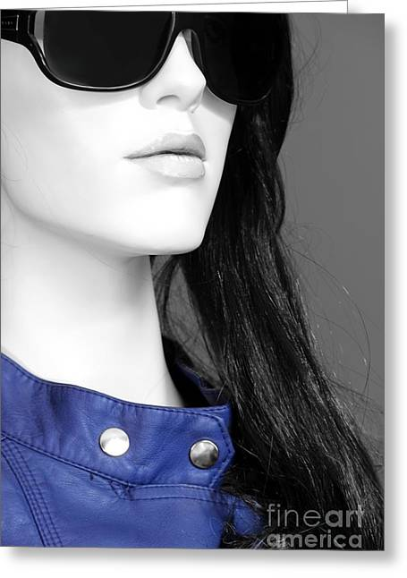 Leather Coat Greeting Cards - Cobalt Blues Greeting Card by Sophie Vigneault