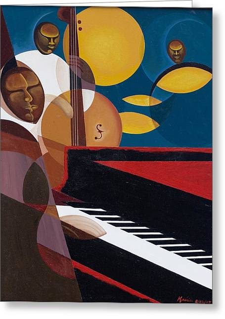 African-american Paintings Greeting Cards - Cobalt Jazz Greeting Card by Kaaria Mucherera