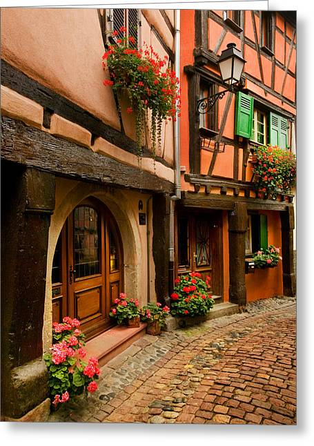 Alsace Greeting Cards - Cobble Stoned Street Greeting Card by John Galbo