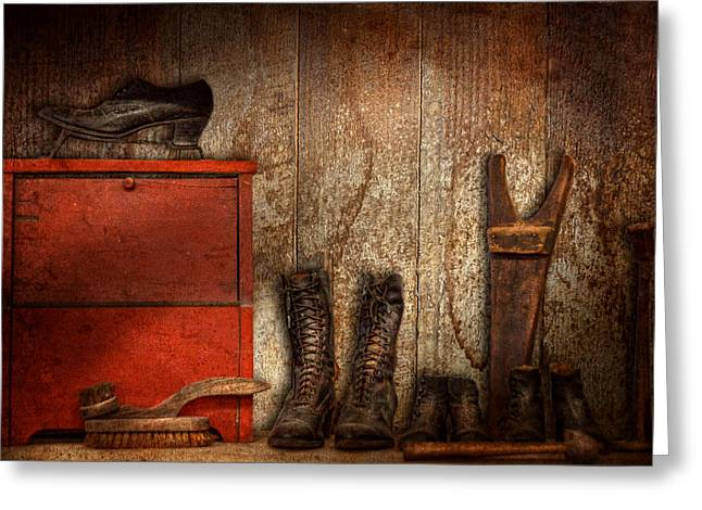 Black Boots Greeting Cards - Cobbler - The shoe shiner 1900  Greeting Card by Mike Savad