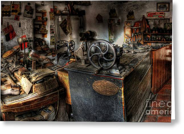 Shoe Repair Greeting Cards - Cobblers Shop Greeting Card by Yhun Suarez