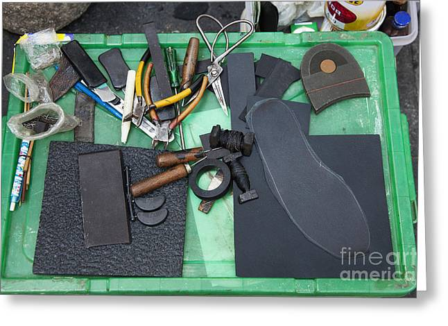 Shoe Repair Greeting Cards - Cobblers Tools Greeting Card by Don Mason