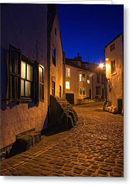 Abode Greeting Cards - Cobblestone Road, North Yorkshire Greeting Card by John Short