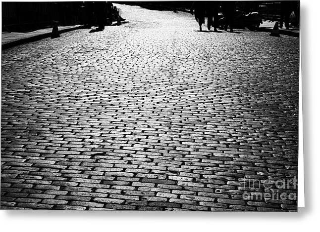 Cobblestoned Street On The Royal Mile Edinburgh Scotland Uk United Kingdom Greeting Card by Joe Fox