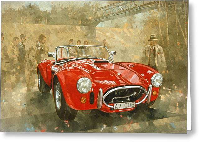 Racing Car Greeting Cards - Cobra at Brooklands Greeting Card by Peter Miller